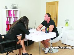 Female agent fucks muscled guy office brunette