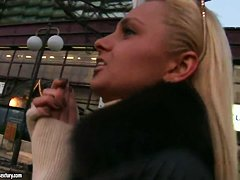 Ivana Sugar poses and demonstrates her secrets in public places